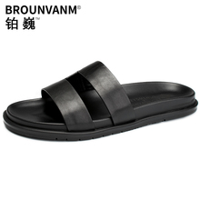 Outdoor mens roman sandals personality summer one-word slippers men fender genuine leather Flip Flops male