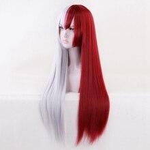 Genderbend Peluca de Cosplay de My Hero Academia, peluca de Cosplay de Boku No Hero Academia de estilo Todoroki, rojo/blanco de 80cm
