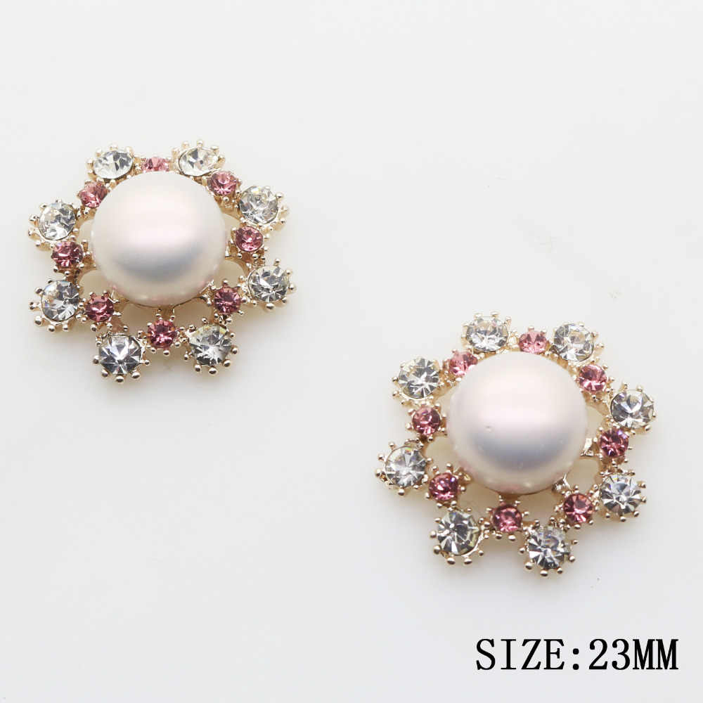 2017 New Hot 10Pcs 23mm Round Pearl Alloy Diy jewelry Accessories rhinestones pedestal embellishments caps Decoration For Making