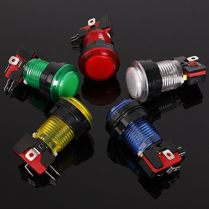 Hot Sale 12V 24mm Runde Arcade Switch 5 Farver Lyser Belyst LED Lys Arcade Video Game Trykknap Switch Nyt