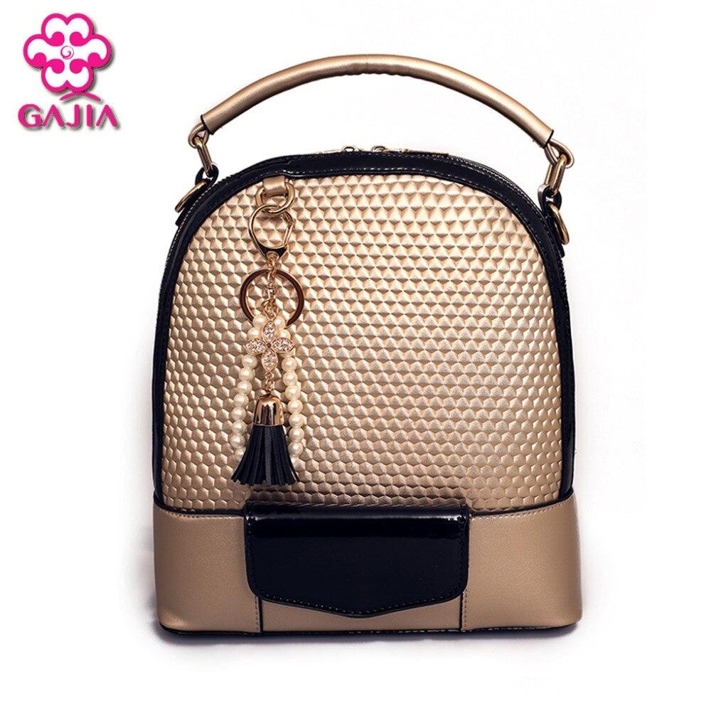 GAJIA Fashion Multifunctional Women Leather Backpack Tassel Women Double Shoulder Bags Backpacks For Teenage Girls Mochila Bolsa