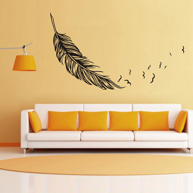 Wall Sticker Vinyl Birds Flying Feather Bedroom Home Decal: best wall decor