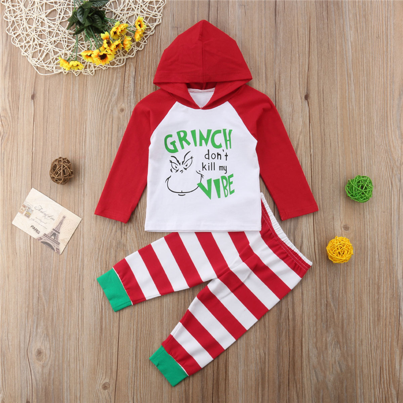 Newborn Baby Kids Girl Boy Christmas 2pcs Clothes Hooded Tops Long Pants Outfits 0-24M cute newborn baby boy girl pant plain long pants kids grey elastic waist pants toddler kids striped bottom trouser clothes