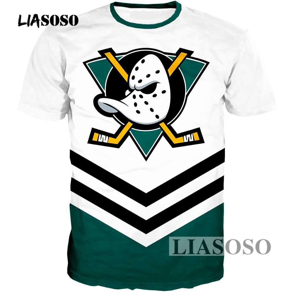 LIASOSO New Men Women Fashion Sweatshirt 3D Print Anaheim Duck   T     Shirt   Short Sleeve Boy Hip Hop Top Harajuku Pullover R3660