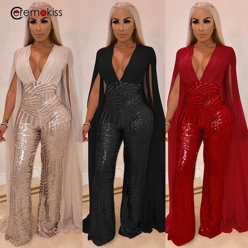CeremokissChiffon Split Long Sleeve Sequin   Jumpsuit   Sexy V Neck Patchwork Loose Wide Leg Romper Evening Sparkly   Jumpsuit   Overall