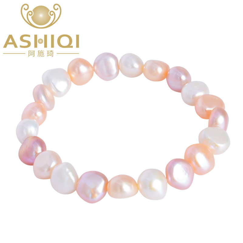 ASHIQI Natural colorful baroque pearl bracelet ,Freshwater pearl  jewelry for women wedding 8-9mm Elastic bracelet