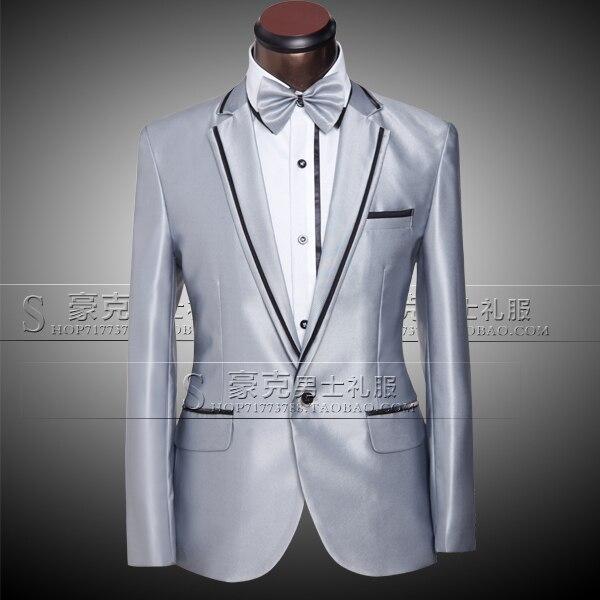 d41957a89abf (Jacket+pants+bow tie) 2015 Fashion Brand men suits custom fit tuxedo Blazer  slim silver prom groom wedding male singer dress
