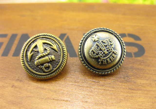 15MM Antique bronze printed button anchor Crown design DIY handmade