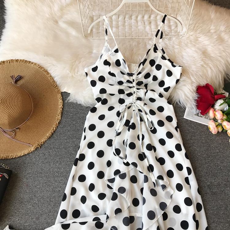Women Beach Red Dress 2019 Summer New Seaside Holiday Sleeveless Dot Print Casual Vestidos E496 33