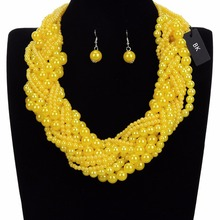 BK Multicolor Fashion Silver Chain Resin Pearl Choker Statement Pendant Bib Necklace Earrings