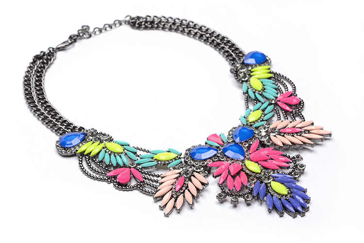 2018 ZA Big Necklace Women Maxi Necklaces & Pendants Collier Femme Boho Fashion Choker Collar Accessories Female Crystal Flower