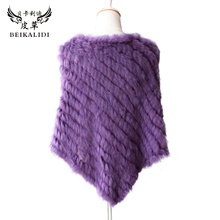 Real Fur Knitted Rabbit Fur Poncho Triangle Fashion Wrap Coat Shawl Lady Natural Fur Wedding Party Top Quality Cape Wholesale