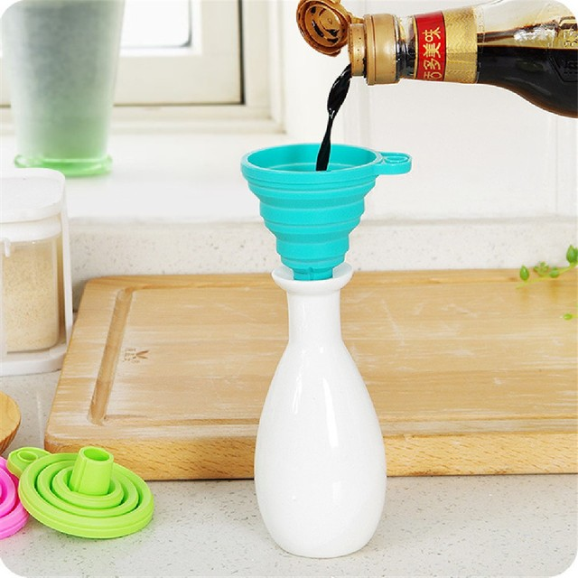 Kitchen Protable Mini Silicone Gel Foldable Collapsible Style Funnel Hopper Cooking Tools Accessories Gadgets 2