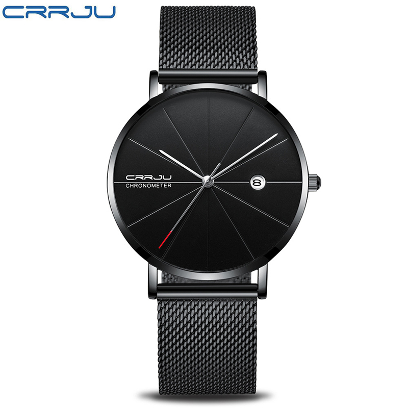 CRRJU2216 Simple Ultra-thin Couple Watch Men Women Clock Luxury Fashion Waterproof Watches Stainless Steel Lovers Watch Gift brand 1 pair luxury simple fashion ultra thin lovers watch men page 6