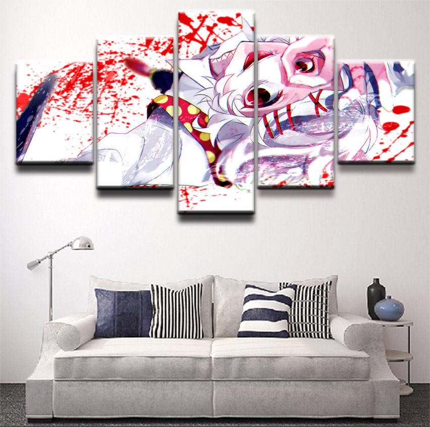 5 Panel Wall Art Poster Juuzou Suzuya Tokyo Ghoul Canvas Painting Anime Pictures Home Decoration Canvas Printed Picture Cuadros