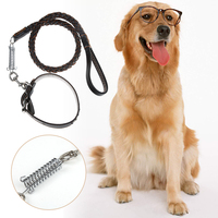 Large Dog Traction Rope Braided PU Leather Training Leashes Dog Collars Belt Spring Leash For Big Dogs Pet Supplies