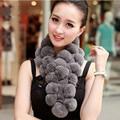 Lady Fashion Winter Genuine Rex Rabbit Fur Scarves Women Fur Pashmina Wraps Neck Rings VK2235