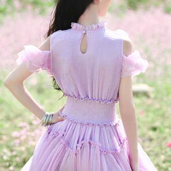 Free Shiping Boshow 2019 New Fashion Women Chiffon Long Maxi Ruffles Dresses Summer Purple Bohemian White Dress With Big Hem S-L