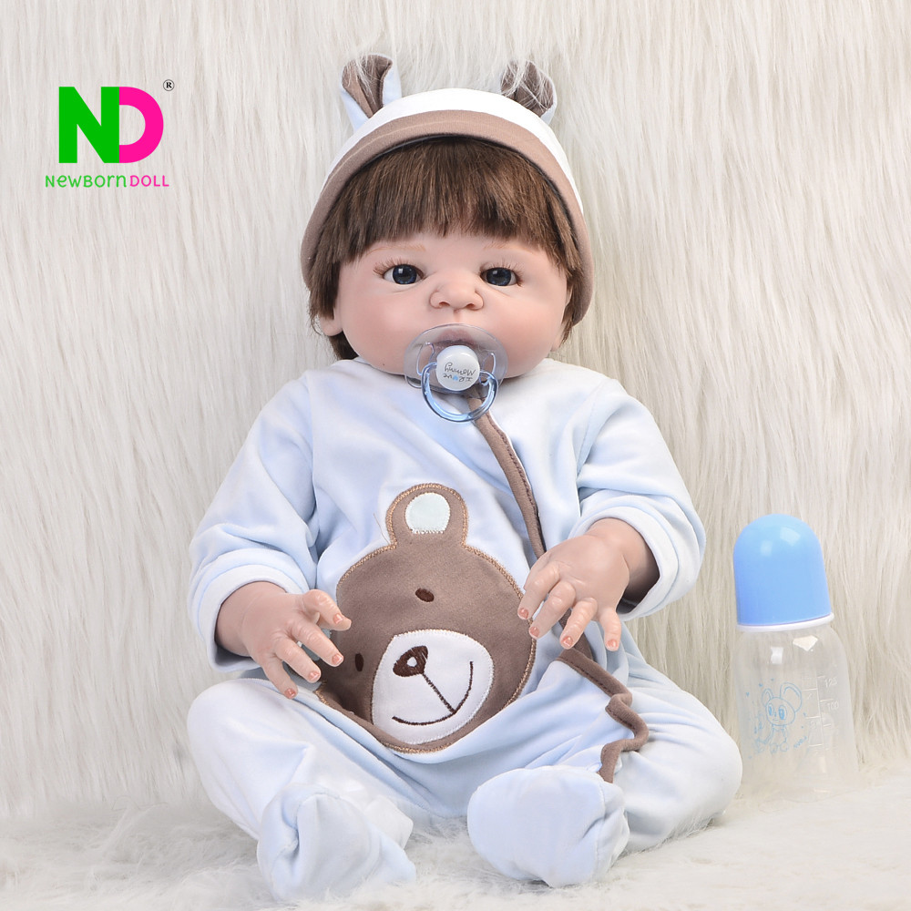 New Arrive Babies Reborn Full Body Silicone Vinyl Boy Toy Doll 23'' Realista Newborn Dolls Baby Born Doll Hot Kid Birthday Gifts pair of elegant faux gem bead water drop earrings for women