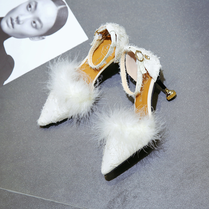 2019 Ankle Strap High Heels Faux Fluffy Rabbit Fur Women Sandals High Heel Summer Lady Shoes Pumps Zapatos Mujer2019 Ankle Strap High Heels Faux Fluffy Rabbit Fur Women Sandals High Heel Summer Lady Shoes Pumps Zapatos Mujer