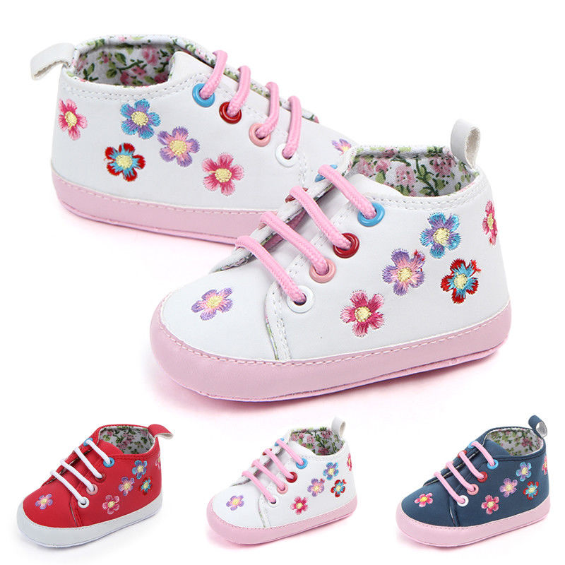 Newborn Baby Casual Shoes Baby Boys Girls Princess Flower Shoes Toddler Floral Anti-slip Sneaker Infant Princess Prewalker