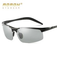 AORON Brand Photochromic Sunglasses Mens Polarized Discoloration Goggle Male Aluminum Magnesium Anti Glare Brand Fashion Glasses