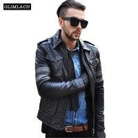 Новый M65 Коускин Кожаные куртки Для мужчин классические четыре кармана из натуральной кожи мотоциклетная куртка Тонкий нагрудные Черный ав