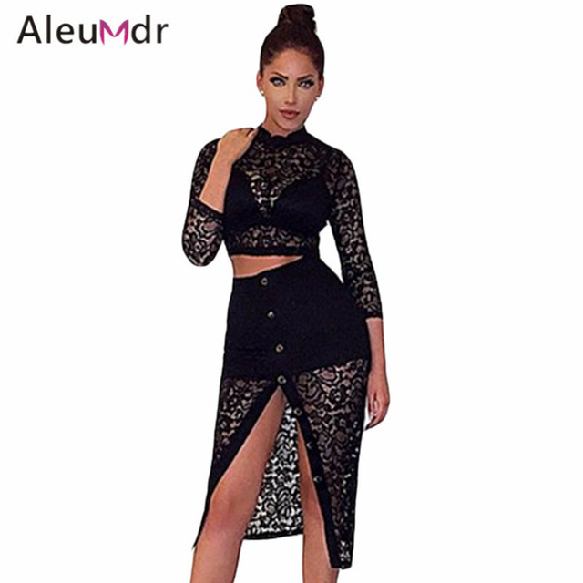 Aleumdr Women Autumn Two Piece Set Skirt And Top Lace Crop Top Midi Split Skirt Set LC63012 Conjunto Feminino Saia E Blusa