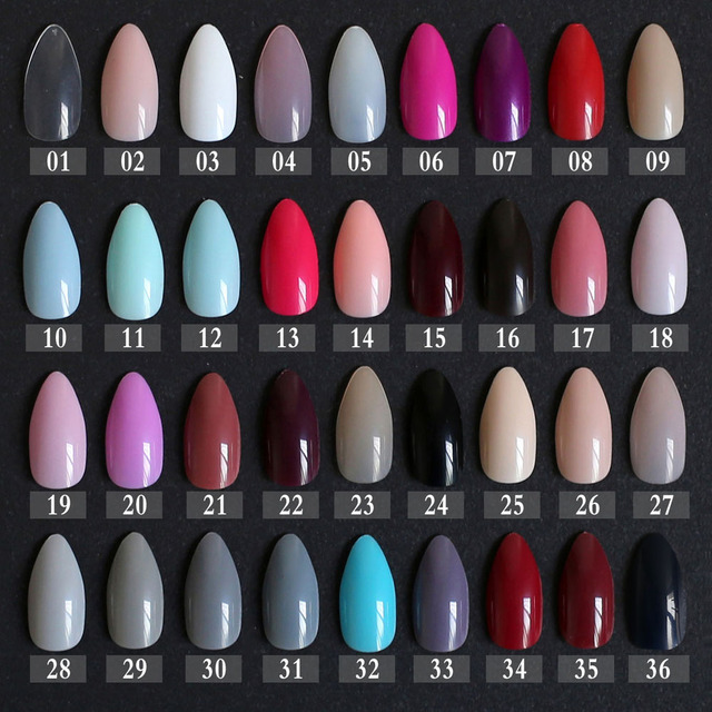 New Fake Short Rose Pointed Soft Pink Red Brown Blue Stiletto False Nails Full Cover
