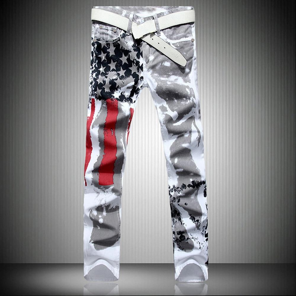 Új luxus márka Stretch férfi farmer amerikai zászló nyomású - Férfi ruházat