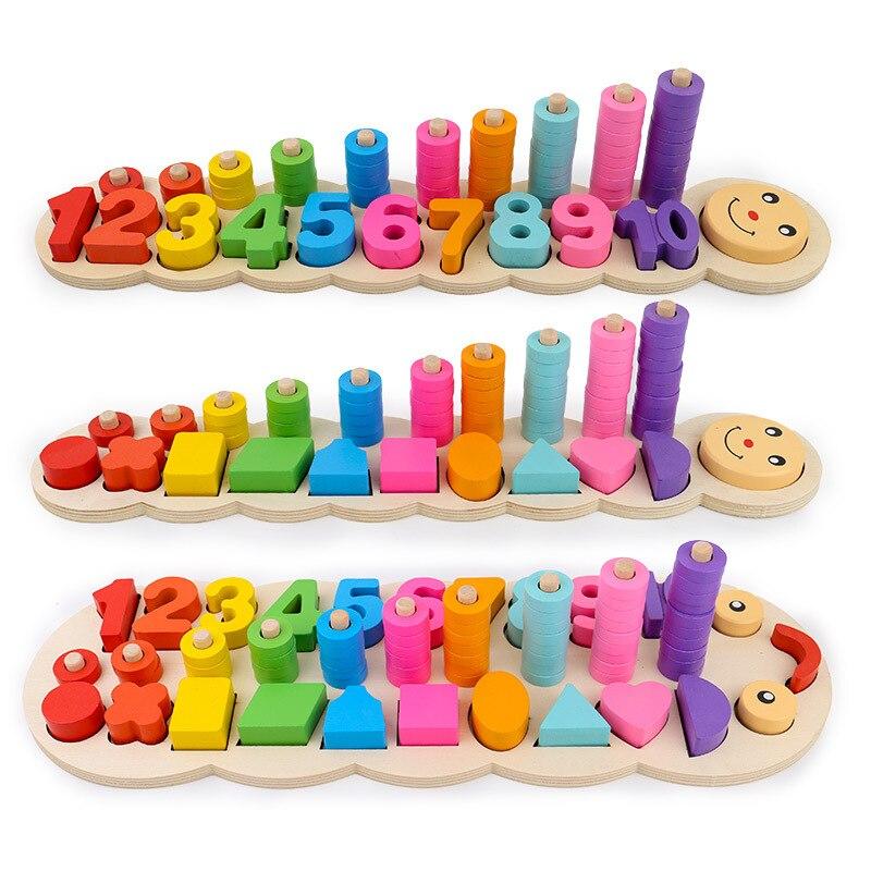 Ensinar matemática brinquedos de madeira materiais montessori aprendizagem crianças para contar números correspondência forma digital match educação precoce