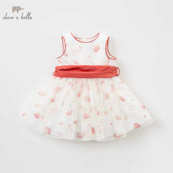 DB9066 DAVE BELLA summer baby girl princess clothes children birthday party wedding dress big bow boutique floral dresses