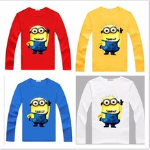 New Children Tops Cotton Tees for Kids Boys Clothes Girls Cartoon long sleeve T-shirt Despicable Me Small Yellow T Shirts man