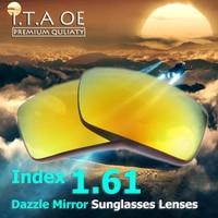 1 61 Index Dazzle Color Mirror Prescription Sunglasses Lens For Optical Myopia Reading Eyewear Frames Anti