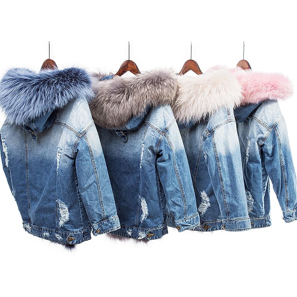 Maylofuer Real fox fur liner coat female warm winter fox fur coats natural raccoon fur collar hooded jean parka detachable liner