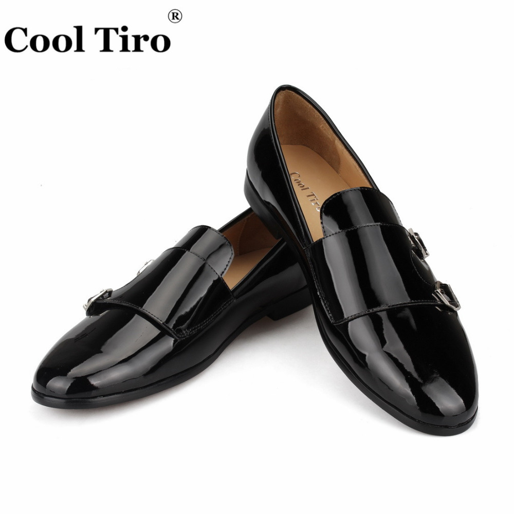 Cool Tiro Black Patent leather Men Loafers Double Monk Moccasins Slippers Wedding Dress Shoes Formal Flats