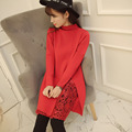 Autumn Winter post-natal Breast-feeding Dress Lace Long Knitted Sweater Breastsfeeding Dresses Fashion
