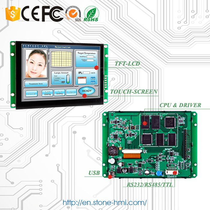 "3.5"" Touch Screen TFT Display Module + Serial Interface + Controller Board for Industrial HMI Control"