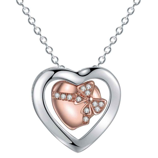925 Sterling Silver Jewelry,925-sterling-silver Double Heart Pendant Necklace Flower Pendant Silver Necklace Women Accessories