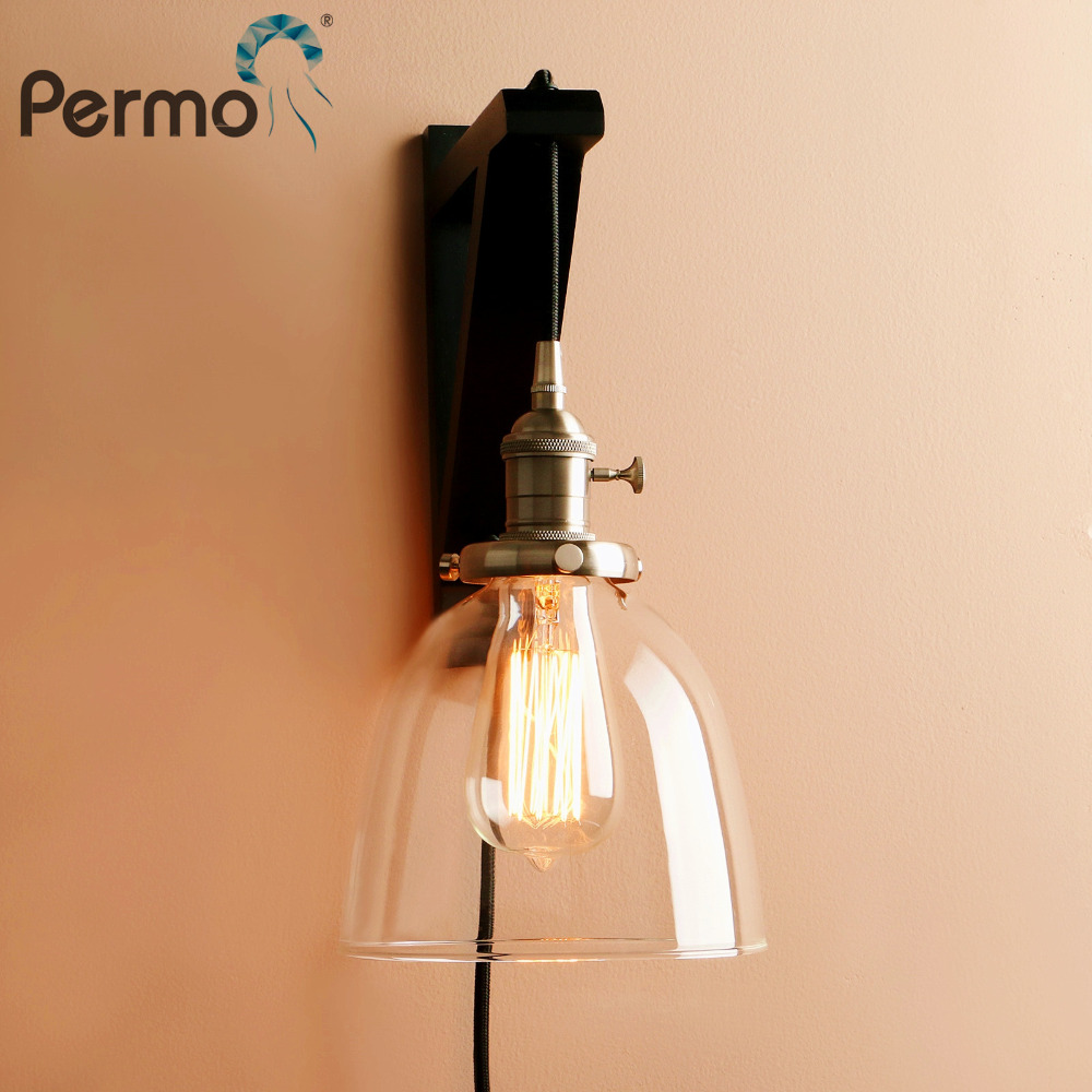 Permo Modern Handmade Wooden Hook Wall Sconce Light Vintage Bowl Glass Wall Lamp With Wood Stand Lights Fixture Home Decorations