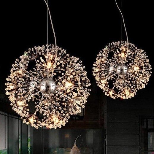 Modern Circular Dandelion K9 Crystal LED Pendant L& Sitting Room Dining room Corridor Chandelier (G4 bulb)-in Pendant Lights from Lights u0026 Lighting on ... & Modern Circular Dandelion K9 Crystal LED Pendant Lamp Sitting Room ...