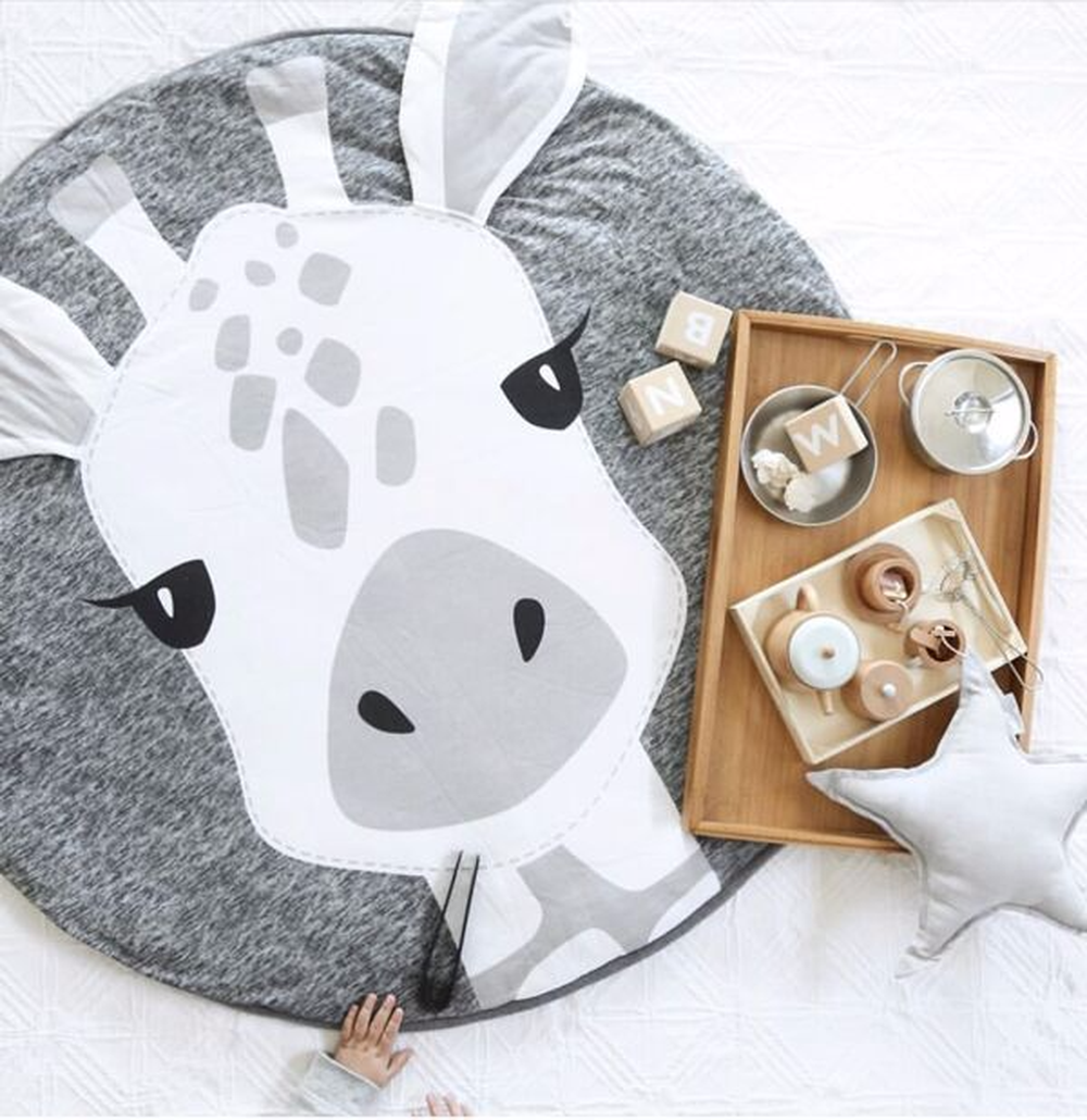 Animaux de bande dessinée girafe imprimer bébé jouer tapis enfant ramper couverture tapis jouets sac de rangement nordique enfants chambre décor