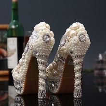 Women Wedding Pearl Shoes Luxury Crystal Pumps Sexy Bridal Super High Heels
