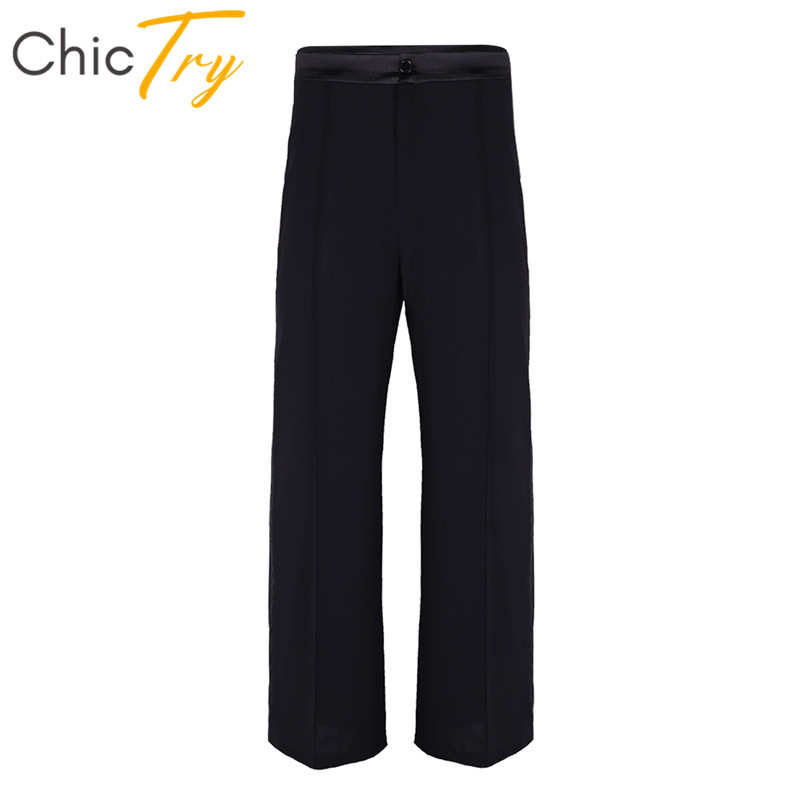 ChicTry Men Black Long Pants Soft Latin Dance Pants Ballroom Tango Modern Salsa Practice Dance Wear Adult Stage Dance Costume