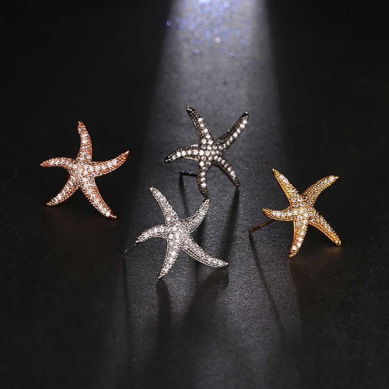 EMMAYA nuevo diseño único estrella simétrica Stud pendientes, pendientes de estrella de mar oído pendientes para las mujeres de lujo joyería de la boda