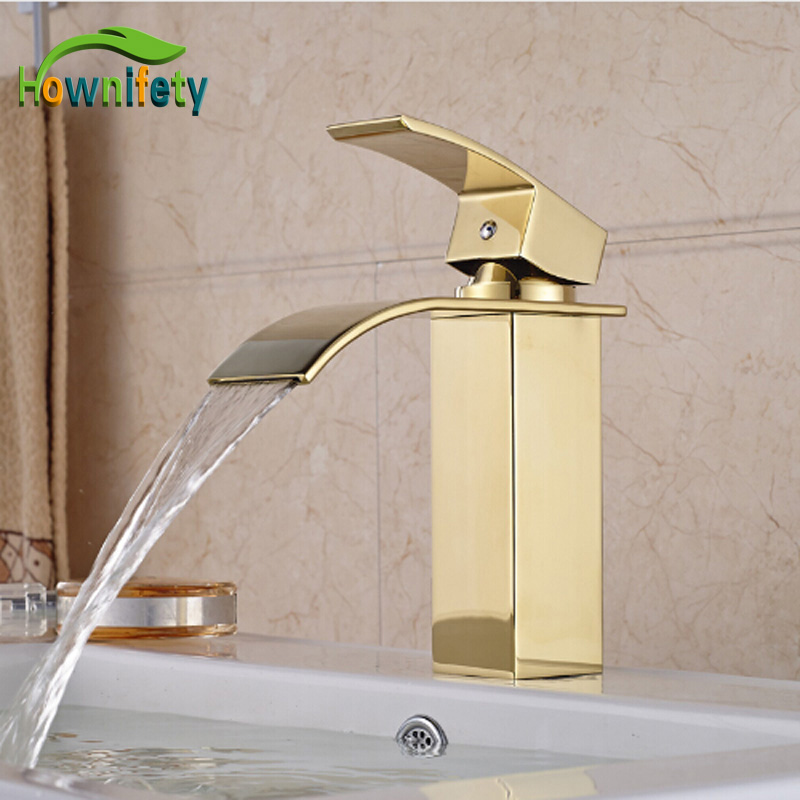 Free Shipping Luxury Gold-plated Bathroom Mixer Tap Single Handle One Hole Waterfall Basin Faucet becola basin faucet luxury bathroom golden mixer single handle single hole deck mounted waterfall tap lt 509 free shipping