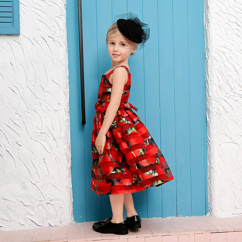 Red Flower Girl Dress For Evening Prom Party Costume Teenage Little Girl Sling Dresses Kids Clothes Wedding Christening Gown brand toddler baby girl flower wedding dress evening prom gown children clothing girl party wear tulle costume for kids clothes