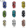 1 piece of DIY CZ Crystal Loose Beads fit for Pandora Black Colorful Cubic Zirconia Round Bead for Chain Accessories TZ7