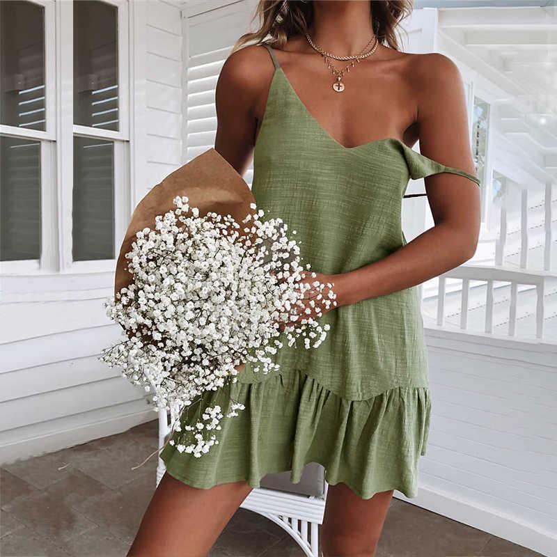 فساتين سباغيتي حزام قبالة الكتف المرأة فستان صيفي 2020 الأبيض التحول فستان كشكش مثير فستان الشمس مصغرة القطن الكتان Vestidos