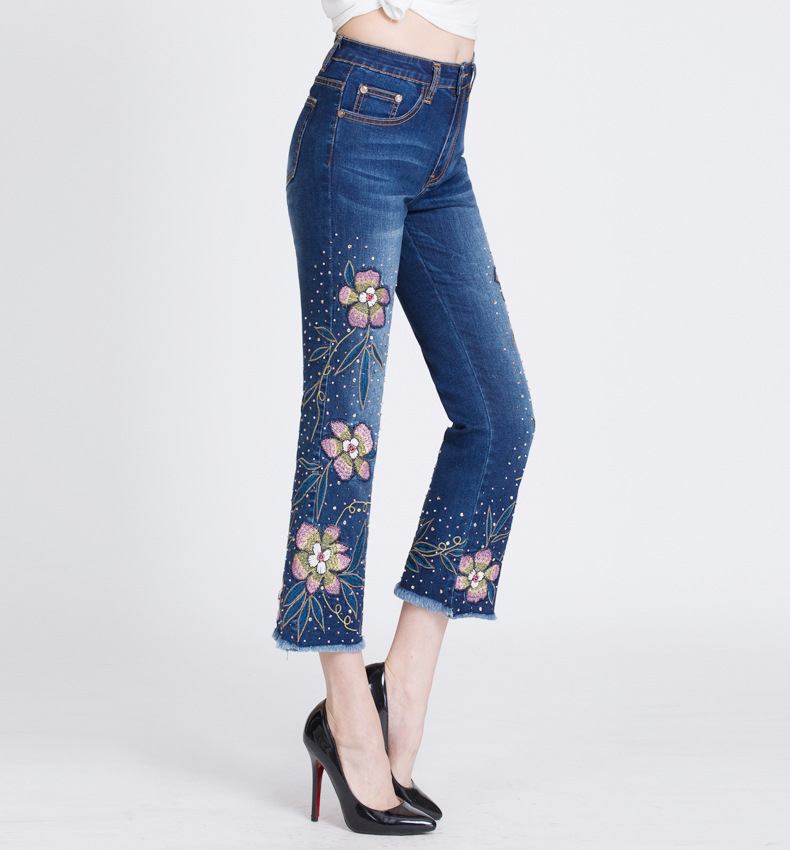 KSTUN FERZIGE Women Jeans with Embroidery High Waist Stretch Slim Fit Bell Bottoms Flares Sequined Rhinestones Boot Cut Elegant Woman 18